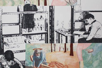 Agathe_Dos_Santos_La Solitude_couleurs_2019 > Agathe DOS SANTOS, La Solitude, 2019, Gouache et gravure sur panneau de médium teinté 64 x 58,7 cm