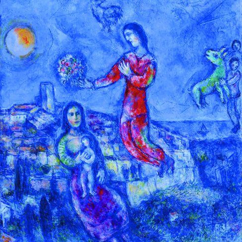Le couple dans le paysage bleu (Couple in the blue landscape), 1969/71, 112 x 108 cm, Collection Particulière